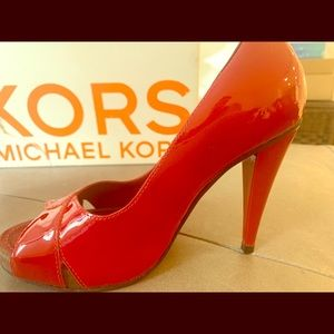 Red Patent Michael Kors Open Toe Pumps Size 6.5